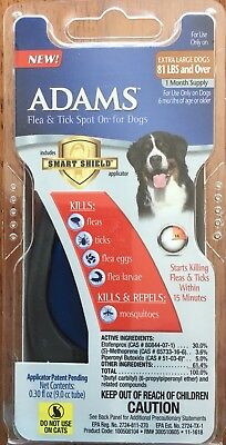 Adams Flea and Tick Spot on For Dogs Extra Large 81 Lbs and Over 1 Month Supply
