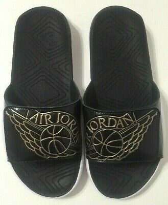 86a2b23d0abd Nike Jordan Hydro 7 Slides Sandals GS Black Gold AA2516-021 Youth Size 5-