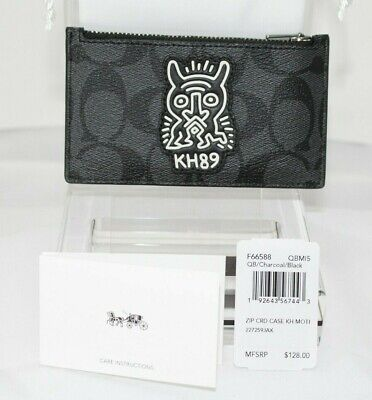 NWT COACH Keith Haring F66588 Black Card Case in Signature Canvas with Motif