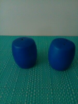 Blue round Salt And Pepper Shakers.