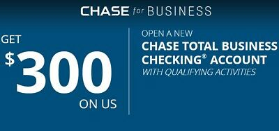 Chase $300 Business Checking Bonus Offer Voucher Card Exp. 04/09/2019 Promotion