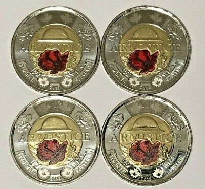 4 x 2018 $2 Toonie Colour Coins Armistice 100 Years, BU from Canada Mint roll