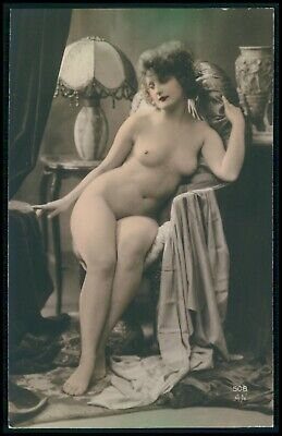 French nude woman Art Deco original old 1910-1920s tinted color photo postcard