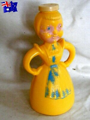 vintage Merry Maid Yellow Laundry Starch Water Sprinkler Plastic Bottle