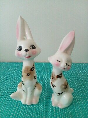 Rabbits with flowers Salt And Pepper Shakers.