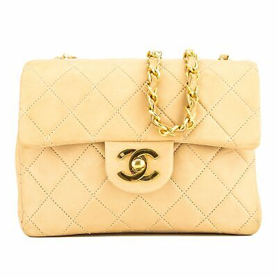 8f14534c956888 CHANEL BEIGE QUILTED Lambskin Square Mini Classic Flap (7000241 ...