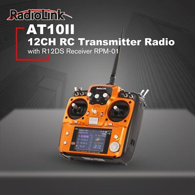 RadioLink AT10II 2.4Ghz 10CH RC Transmitter with R12DS Receiver PRM-01 fr Dromf