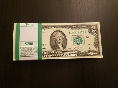 NEW Uncirculated Two Dollar Bill Crisp $2 Sequential Note Lot 2013