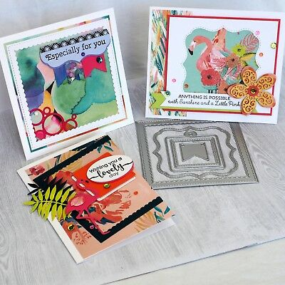 CLEARANCE Shopaperartz SET OF STITCHED SQUARE FRAMES LABELS TAB 5 PCE CARDMAKING