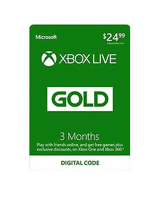 Microsoft Xbox Live Gold 3 Month Membership Card Xbox One/360 1 HOUR DISPATCH