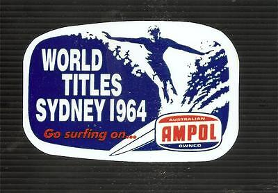 1964 SURFING TITLES MANLY BEACH Sticker Decal Surfboard AMPOL OIL LONGBOARD CAR