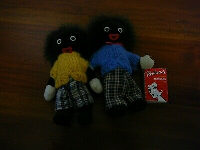 2 X Vintage Gollywog Dolls Knitted Tops 16Cm Free Post