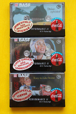 "3x BASF ""Coca Cola"" Edition Cassette Tapes 1995 + OVP + SEALED + FULL SET !! +"