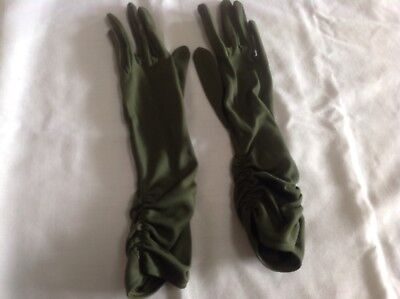 VINTAGE LADIES 'PERSONALITY' DEEP OLIVE GREEN RUCHED COAT LENGTH GLOVES sz 6.5