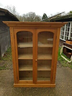 Antique Stained Pine Glazed Display Cabinet