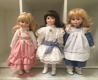 3 Hillview Lane Porcelain Dolls With Stands