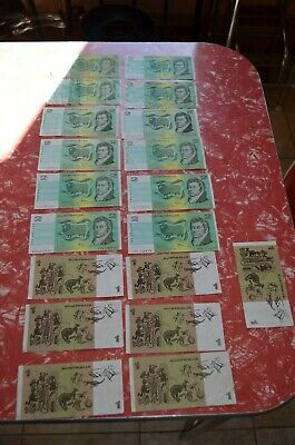 Decimal $1 and $2 note collection Australia