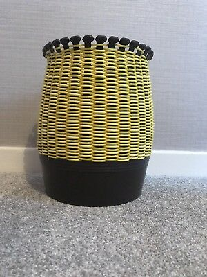 SMIT & CO Rattan Woven Bin Brown And Yellow. 60's / 70's