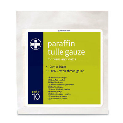 Reliance Medical Paraffin Gauze Pack of 10  10cm x 10cm Burns / Scalds Sterile