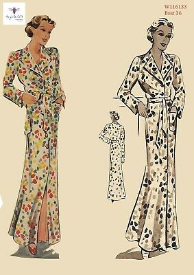 """1930's Vintage Sewing Pattern Women's Dressing Gown Robe House Coat Bust 36"""""""