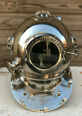 "Reproduction 18"" Anchor Engineering Diving Helmet Mark V Deep Sea Divers Chrome"