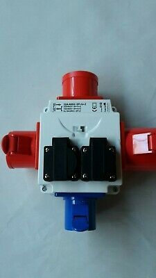 3 phase site electrics power extension 3 way red splitter, 400V to 240V adapter
