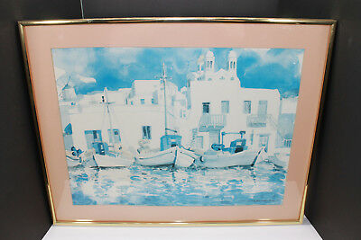 Alvin Blick Naoussa Paros Greece Nautical Boat Ocean Water Color 1979 Framed
