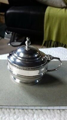 Silver mustard pot by Walker and Hall