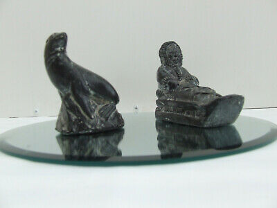 Two Wolf Original Hand Carved Soapstone Sculptures