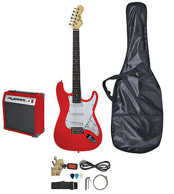 Johnny Brook Standard Electric Guitar Kit - RED with 20W Combo Amplifier & Bag
