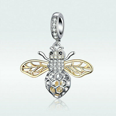 Motion Bee 925 Sterling Silver Charms Fit Women Chain Bracelet Necklace Gifts