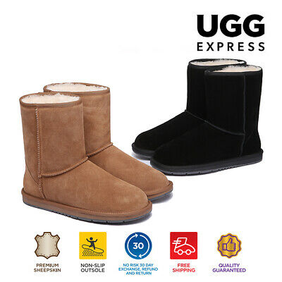 Women Men's 3/4 Ugg Boots Genuine Sheepskin Suede Leather Short Classic Non-Slip