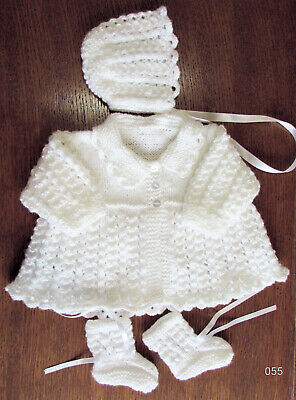 soft white matinee set new 0 to 3 months hand knitted  new james brett