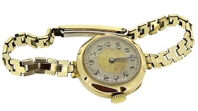 Art Deco ladies 9ct gold wrist watch Swiss movement