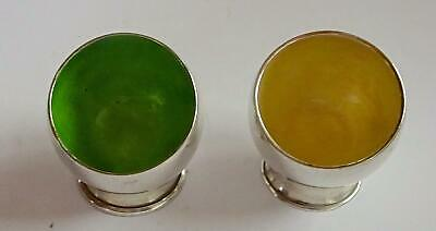 Pair of Solid Silver Salt Pots with Enamel