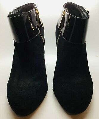 6315d57012737 TORY BURCH ROWEN Black Suede Leather Ribbed Sock Patent Ankle ...