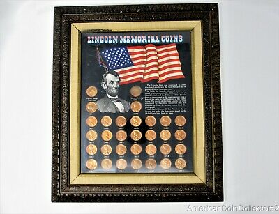 "(32) Framed Lincoln Memorial Cent s Penny s 1959-1972 .01c 1C LOOK 12"" x 14"""