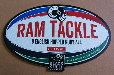 Beer pump clip badge front BLACK SHEEP brewery RAM TACKLE cask ale rugby theme