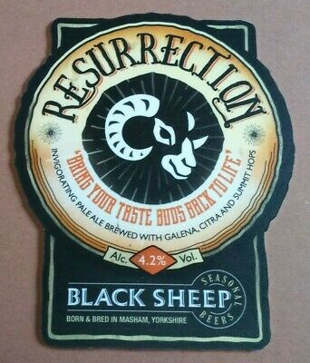 Beer pump clip badge front BLACK SHEEP brewery RESURRECTION cask ale Yorkshire