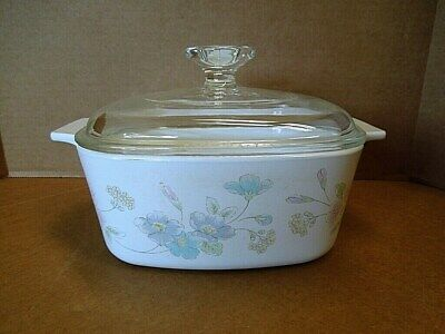 1985-90 Corning Ware Pastel Bouquet Bakeware Casserole A-1 1/2-B with Lid A-7-C