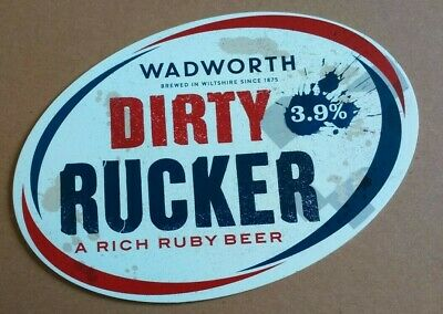 Beer pump clip badge front WADWORTH brewery DIRTY RUCKER cask ale rugby theme