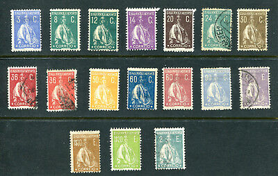 Portugal 1920-22 Ceres Perf. 12 x 11 1/2.  MH x 11 and used x 6 - 2 col. variat.