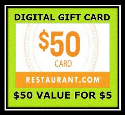 $50 Digital Gift Certificate Codes For Restaurant.com - No Expiration!