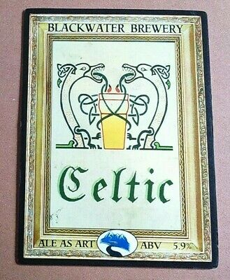 Beer pump clip badge front BLACKWATER brewery CELTIC art cask ale Shropshire