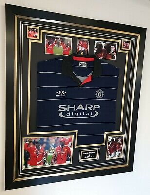 Dwight Yorke and Andy Cole Signed Photo and Shirt Autographed Display