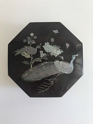 Lacquer Box With Inlaid Mother Of Pearl Bird Design