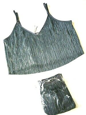 a94c0a370c Victoria Secret Black Pearl Shine Pleat Crop Cami   Short Set Pajamas Pj   79 Nwt