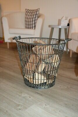 Dark Grey Metal Log Basket (Cox and Cox) - Height 44cm / Diameter 40cm