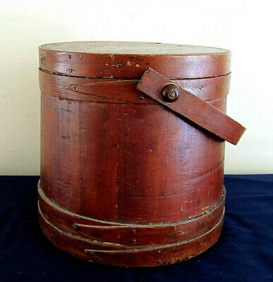 Antique Primitive Large Firkin Sugar Bucket w/ Lid and Pegged Swing Handle.