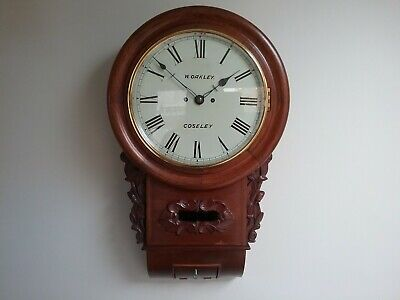 Twin fusee drop dial wall clock in excellent condition and full working order
